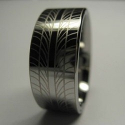 Tyre Tread Ring -  Bright Silver Tungsten Ring & Etched Tread