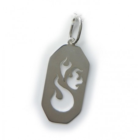Flamin Dog Tag Pendant (Narrow design)