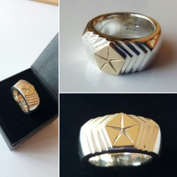 MoPar Pentastar Podium Ring - 9ct Gold and Solid Sterling Silver
