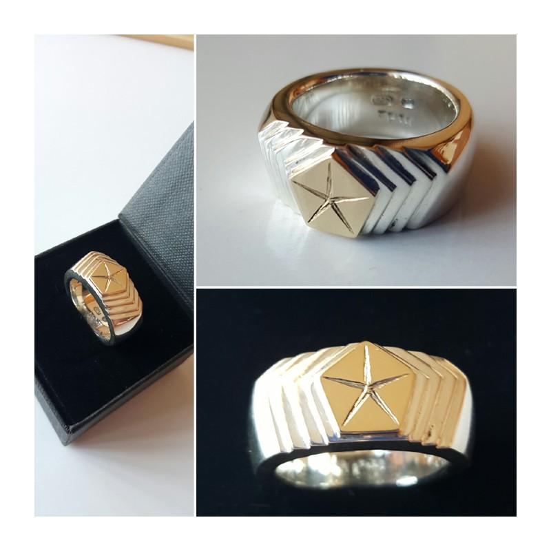 Pentastar Podium Ring With 9ct Yellow Gold Top