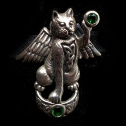 Francis the Winged Fairy Cat (Sterling Silver with green Emeralds)