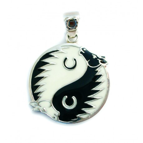 Yin Yang Horses (Sterling Silver and Enamel)