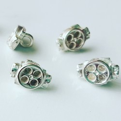 Miniature 4 Barrel Carbie Buttons in solid sterling silver