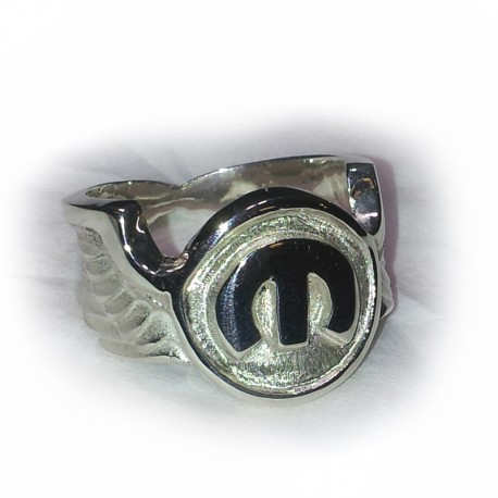 MoPar 'M' Signet Ring on Winged Band. Handcrafted from Solid Sterling Silver